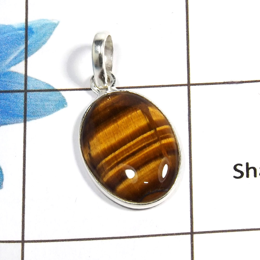 Tiger Eye Cab A - BPS824 - Natural Brown Tiger Eye 925 Sterling Silver Light Weight Bezel Pendant