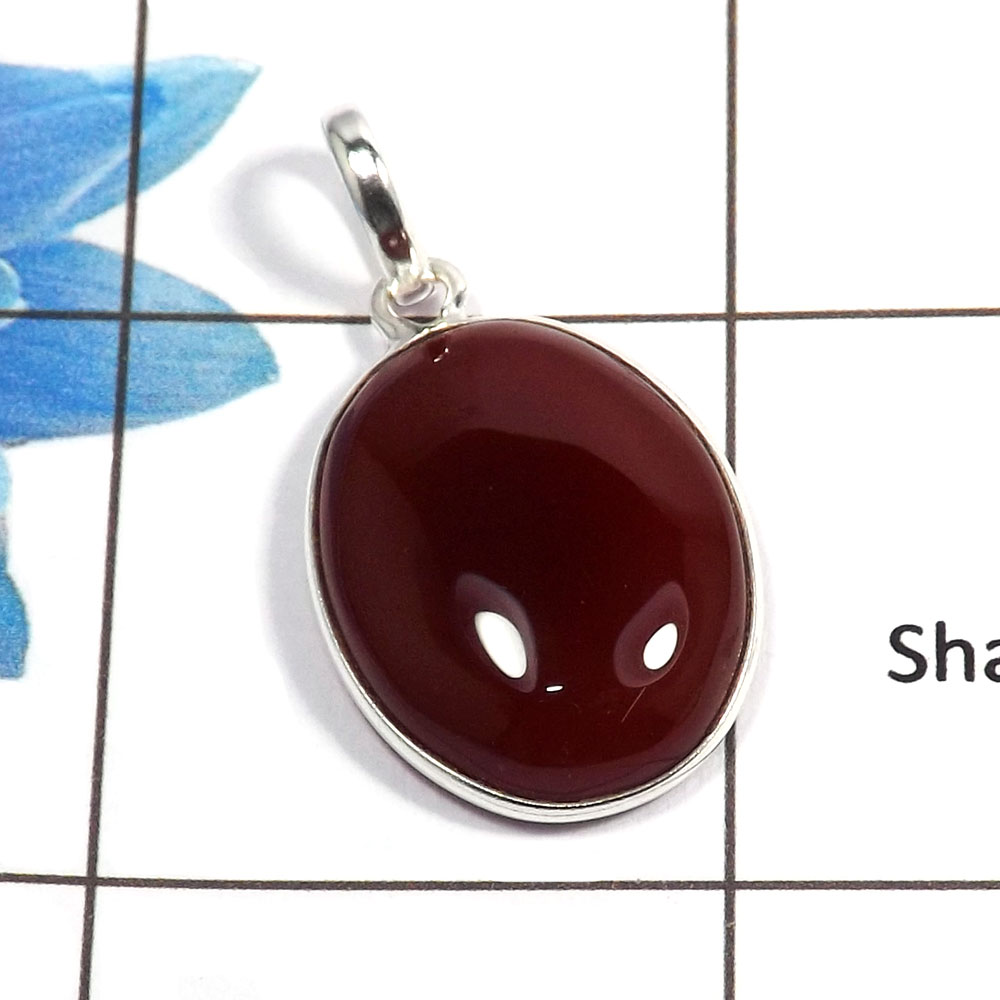 Red Onyx Cab B - BPS824 - Natural Red Onyx Oval Shape Gemstone 925 Sterling Silver Bezel Pendant