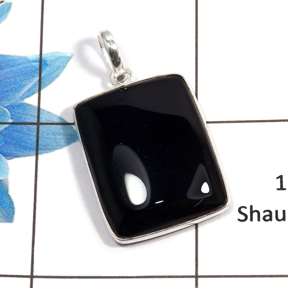 Black Onyx Cab C - BPS824 - Indian Factory Made Black Onyx Gemstone 925 Sterling Silver Bezel Pendant