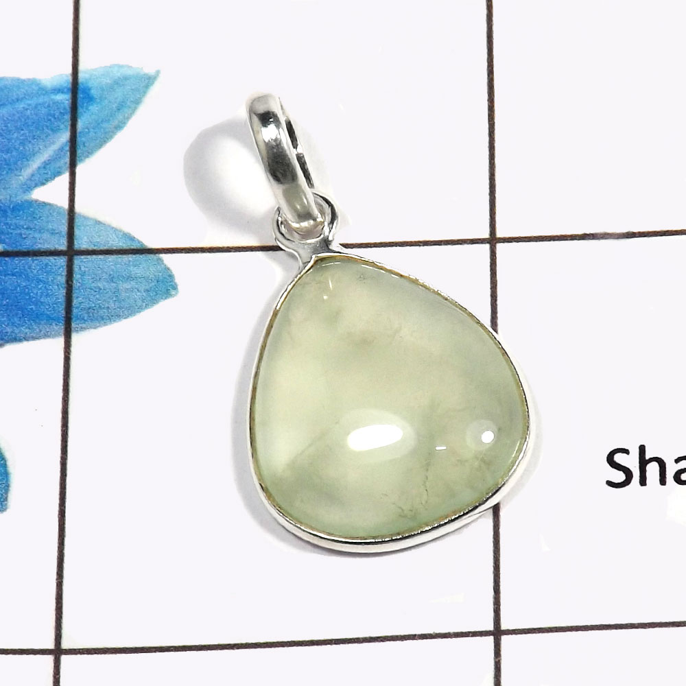 Prehnite Cab F - BPS824 - Natural Green Prehnite Gemstone Solid 925 Sterling Silver Wholesale Bezel Pendant