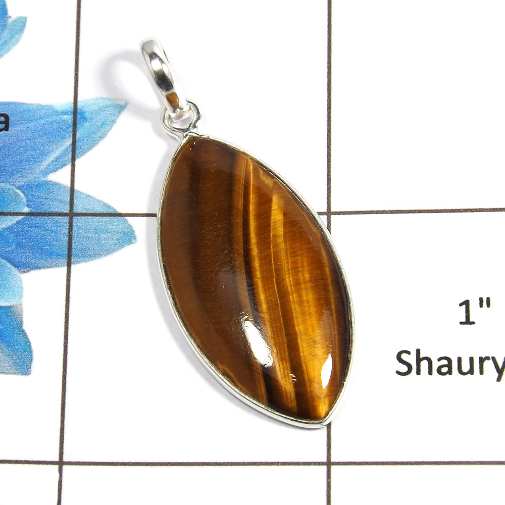 Tiger Eye Cab O - BPS824 - Awesome Natural Brown Tiger Eye Gemstone 925 Sterling Silver Handmade Bezel Pendant