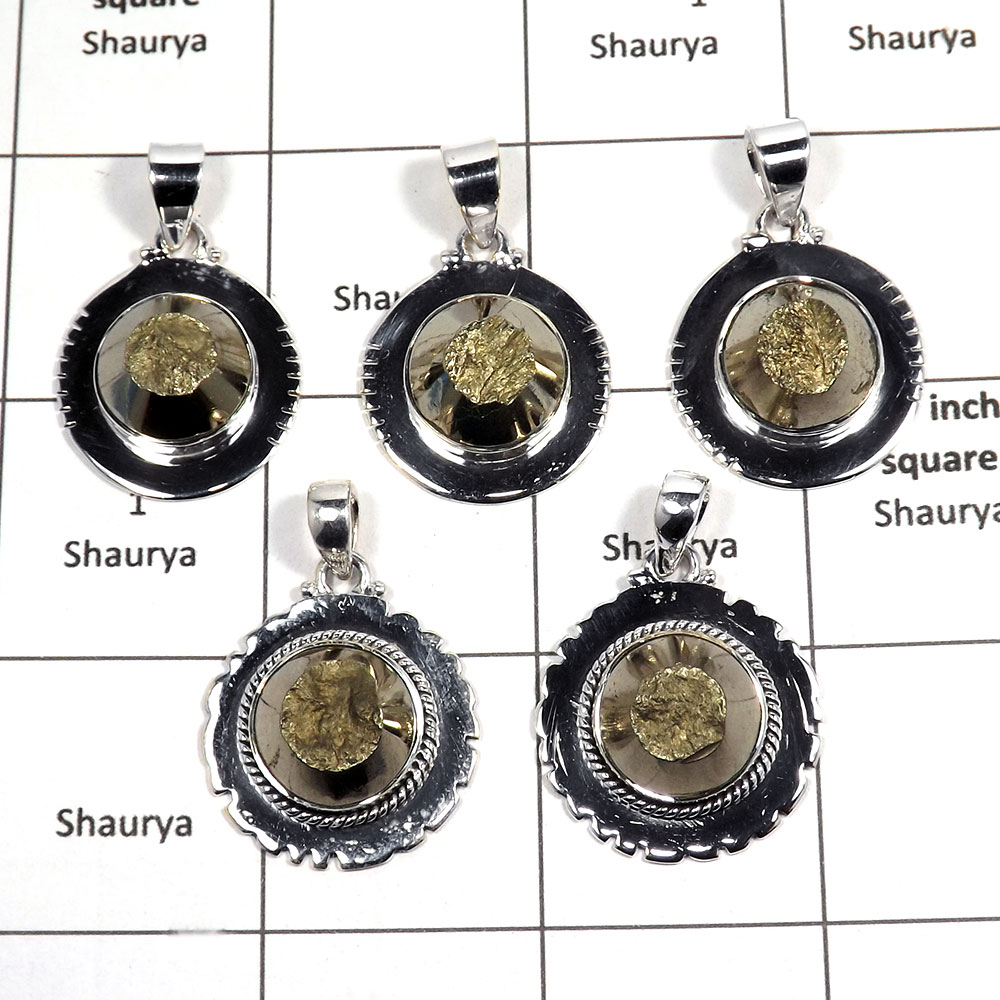 5 pcs Pyrite Pendant - C CPJ992 - Indian Factory Made Pyrite Gemstone 925 Sterling Silver Handmade Designer Pendants