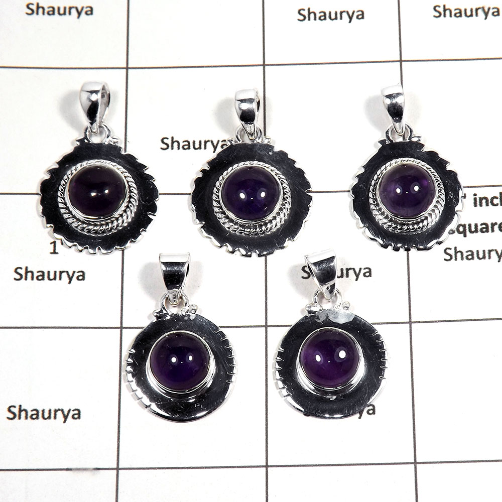 5 pcs Amethyst Pendant - D CPJ992 - Natural Purple Amethyst Cabochon Gemstone 925 Sterling Silver Pendant