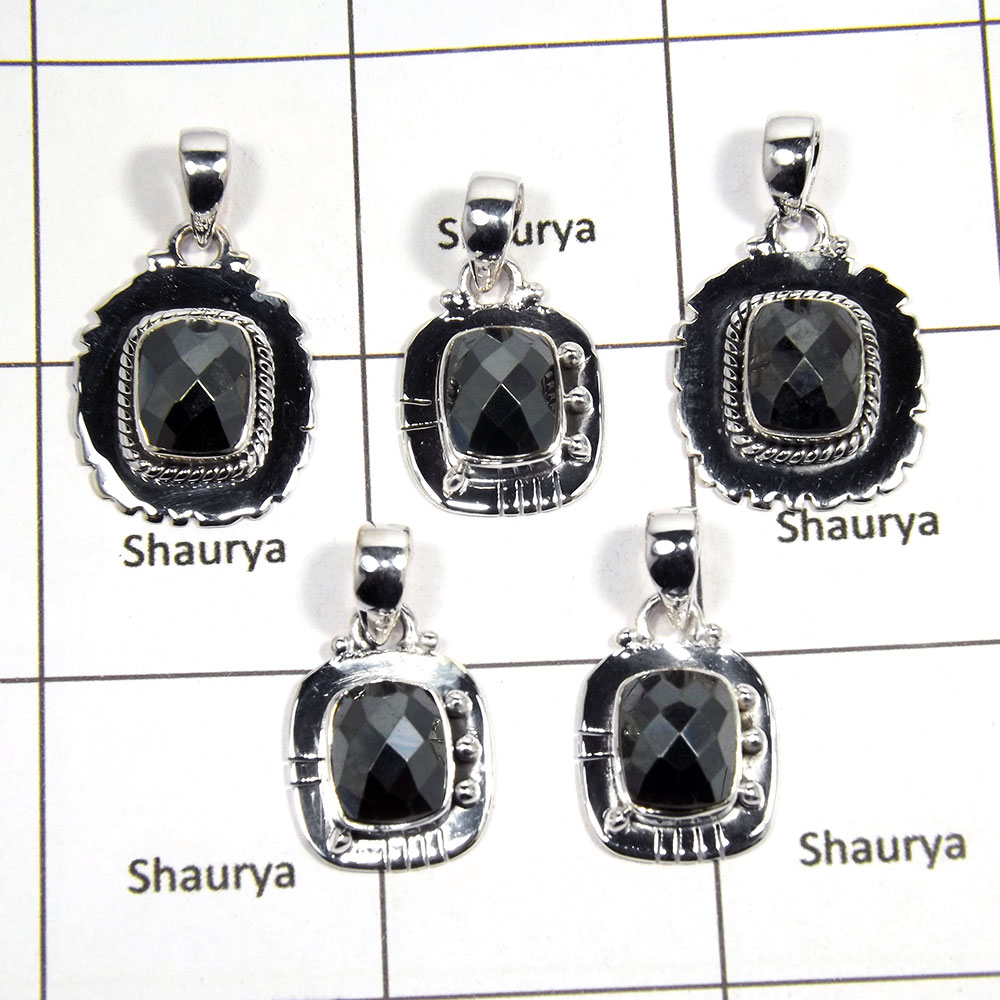 5 pcs Hematite Pendant - E CPJ992 - Sparkling Natural Black Hematite Cut Gemstone 925 Silver Wholesale Lots Pendant