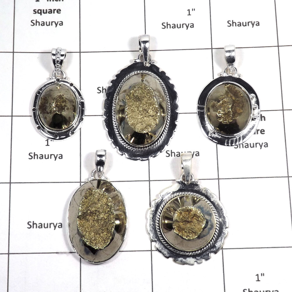 5 pcs Pyrite Pendant - G CPJ992 - Indian Company Made Solid 92.5% Sterling Silver Wholesale Lots Pendant