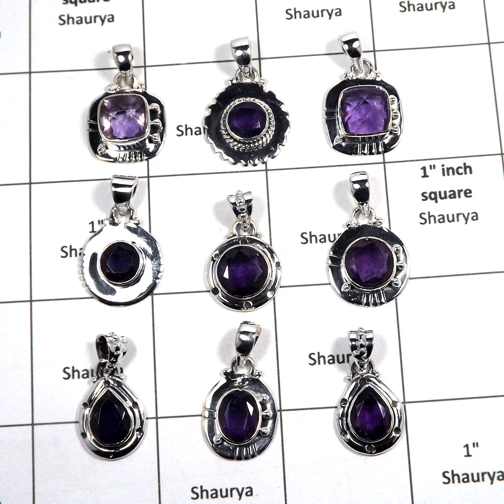 9 pcs Amethyst Pendant - B CPJ993 - Solid 92.5% Sterling Silver Natural Purple Amethyst Cut Gemstone Pendant