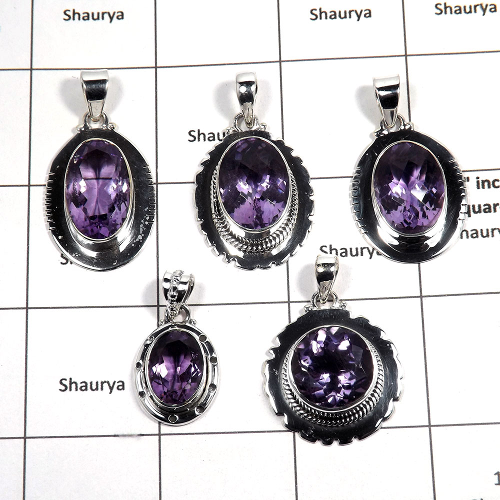 5 pcs Amethyst Pendant - D CPJ994 - Awesome Natural Purple Amethyst Cut Gemstone 925 Sterling Silver Pendant