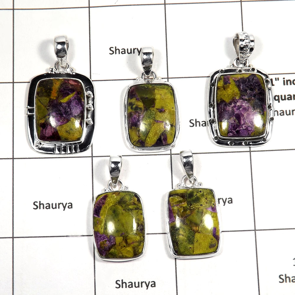5 pcs Stichtite Pendant - I CPJ995 - Solid 92.5% Sterling Silver Natural Green Stichtite Gemstone Pendant