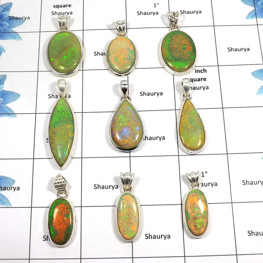 9 pcs Synthetic Sterling Opal Pendants - B CPJ999 - Sparkling Sterling Opal Gemstone Plain Setting Wholesale Lots Pendant