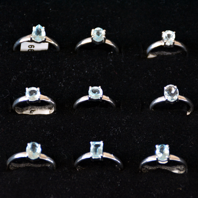 9 pcs Aquamerine Rings CRJ002- Sterling silver 925 natural Aquamarine Rings