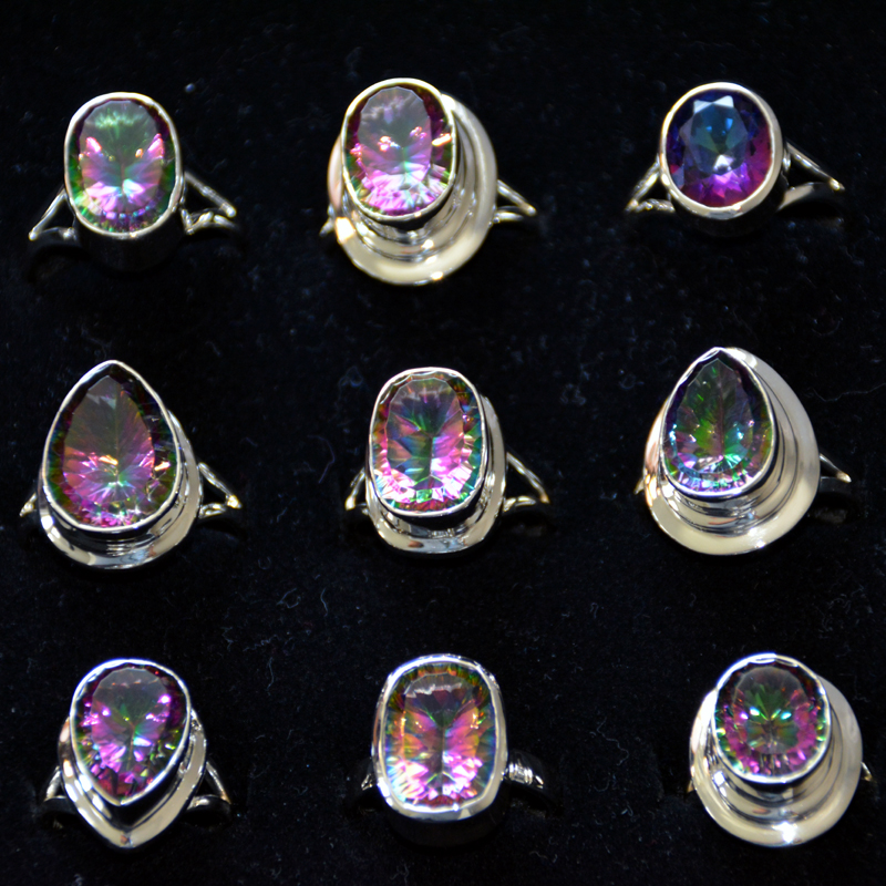 9 pcs Mystic Quartz Rings - CRJ003- Big Rings Sterling Silver 925 handmade Rings from Jaipur India