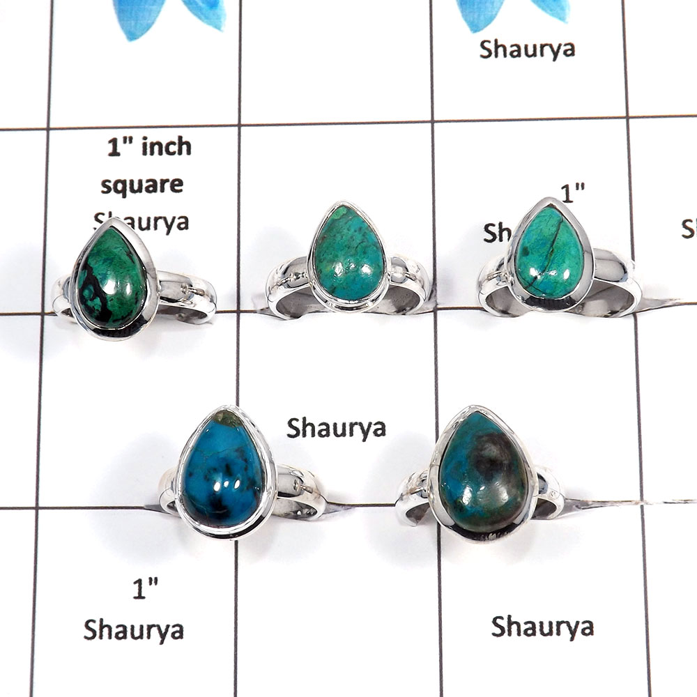 5 pcs Chrysocolla Rings - A CRJ004 - Natural Blue Chrysocolla Gemstone 925 Sterling Silver Handmade Rings from Jaipur India
