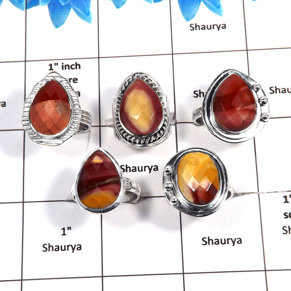 5 pcs Mookaite Rings - C CRJ004- Natural Red Mookaite Cut Gemstone 925 Sterling Silver Wholesale Lots Ring
