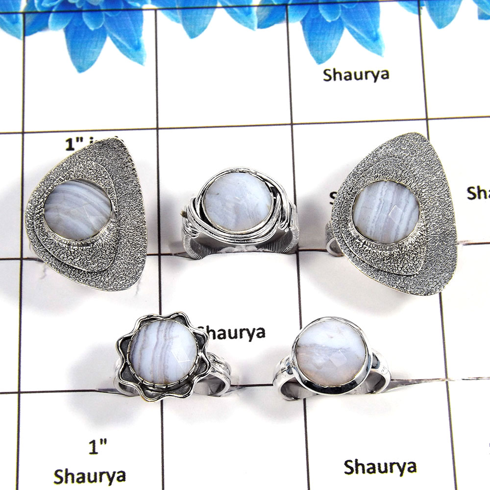 5 pcs Blue Lace Agate Rings - D CRJ004- Newly Arrival Blue Lace Agate Cut Stone Solid 925 Sterling Silver Handmade Ring