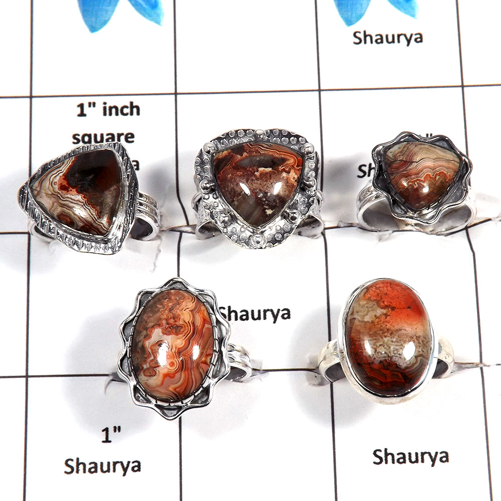 5 pcs Crazy Lace Agate Rings - F CRJ004- Latest Collection Crazy Lace Agate Gemstone 925 Sterling Silver Ring