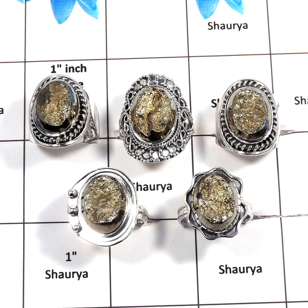 5 pcs Pyrite Druzy Rings - H CRJ004- Sparkling Natural Pyrite Druzy Gemstone Solid 925 Sterling Silver Designer Ring