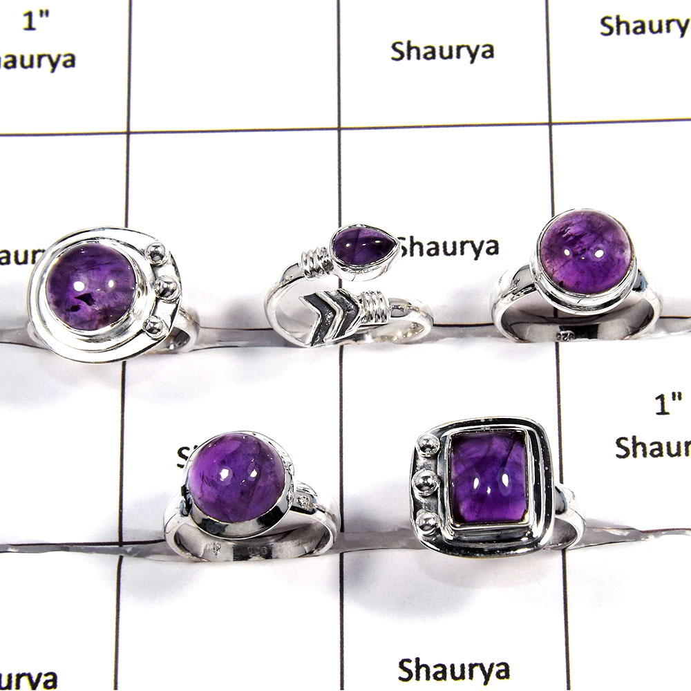 5 pcs Amethyst Rings - O CRJ005 - Latest Collection Natural Amethyst Cabochon Gemstone 925 Sterling Silver Handmade Ring