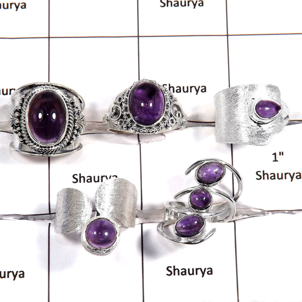 5 pcs Amethyst Rings - B CRJ006 - Natural Purple Amethyst Gemstone 925 Sterling Silver Designer Lots Ring