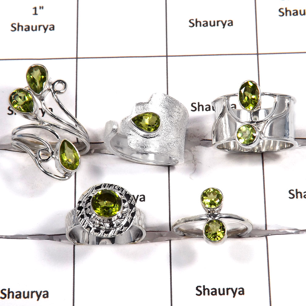 5 pcs Peridot Rings - H CRJ006 - Solid 925 Sterling Silver Natural Green Peridot Cut Gemstone Wholesale Lots Ring