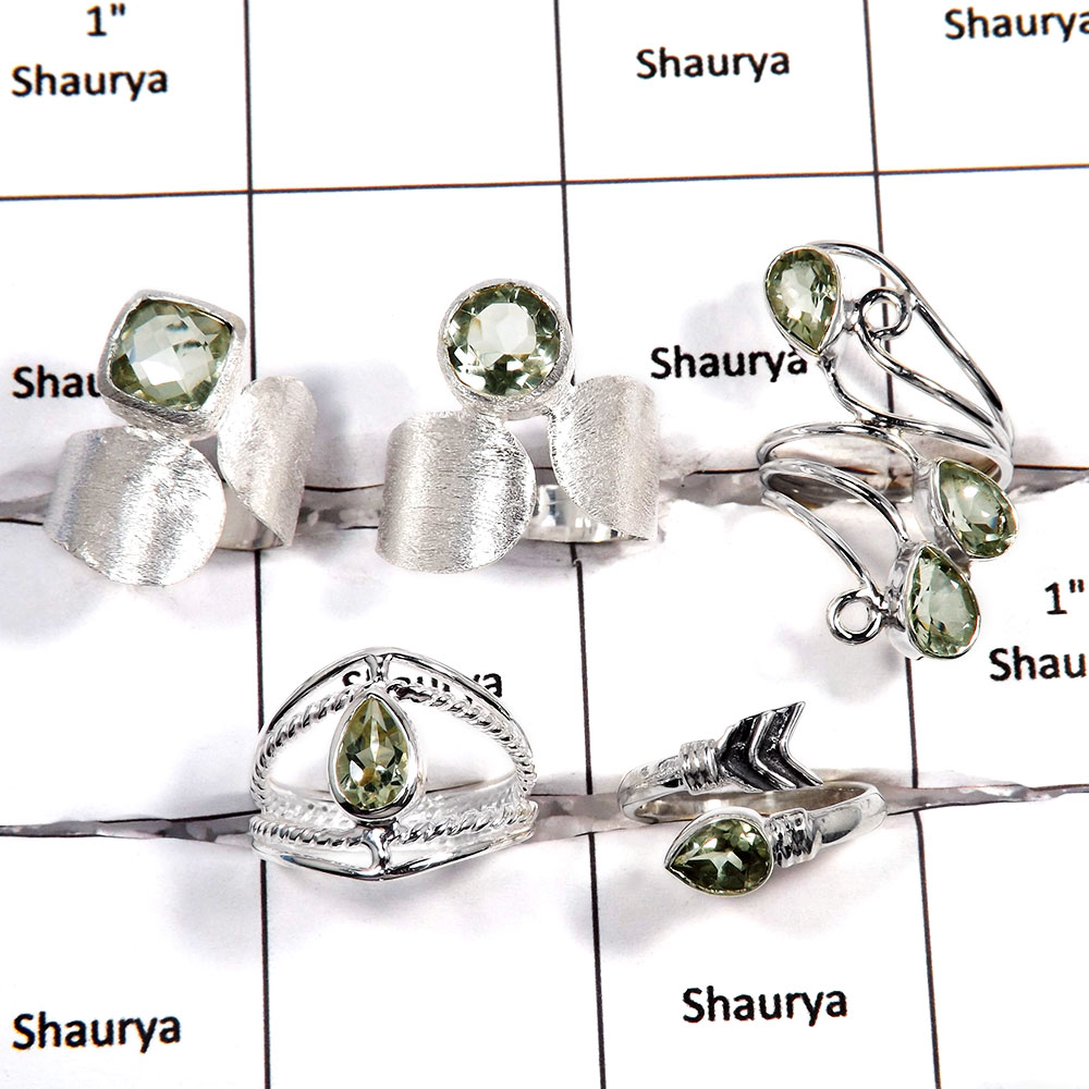 5 pcs Green Amethyst Rings - A CRJ007 - Natural Green Amethyst Cut Gemstone 925 Sterling Silver Wholesale Lots Ring
