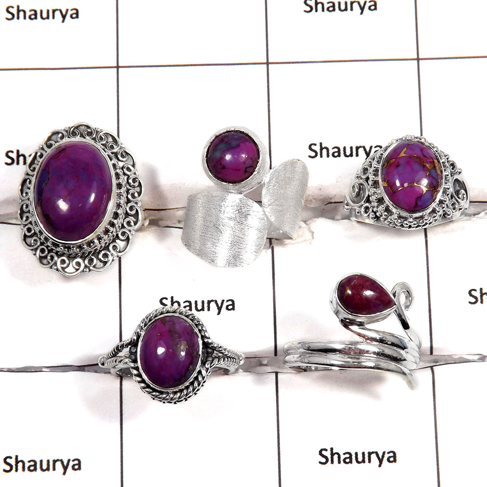 5 pcs Purple Turquoise Rings - E CRJ007 - Newly Arrival Purple Turquoise Cabochon Gemstone 925 Sterling Silver Designer Ring