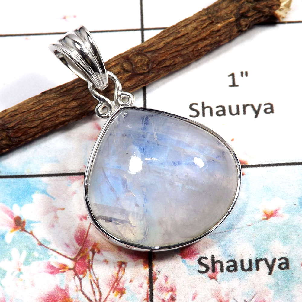 Rainbow Moonstone - F ISP517 - 925 Sterling Silver Plain Setting Blue Fire Rainbow Moonstone Pendant
