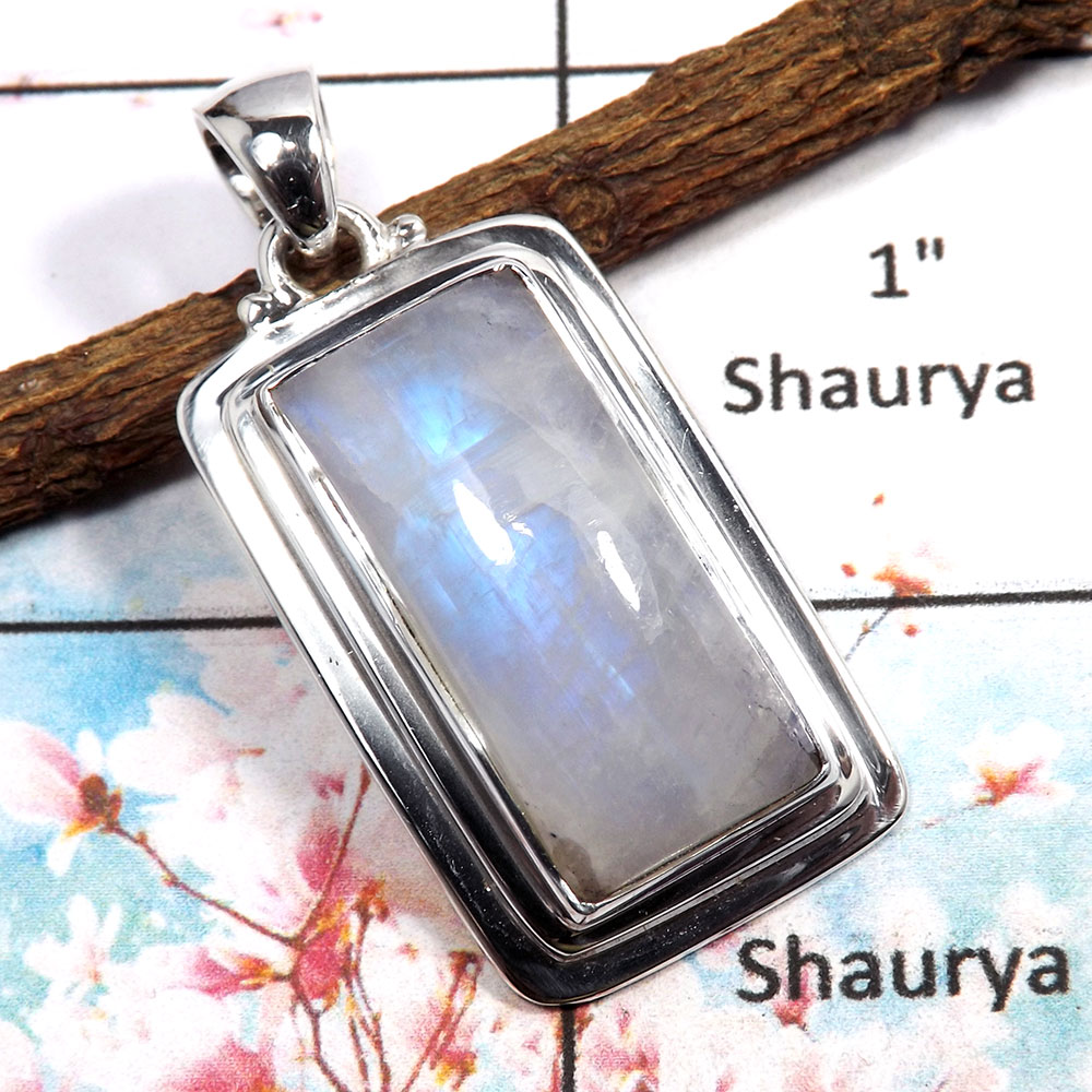 Rainbow Moonstone - M ISP517 - Solid 925 Sterling Silver Plain Setting Blue Fire Rainbow Moonstone Pendant