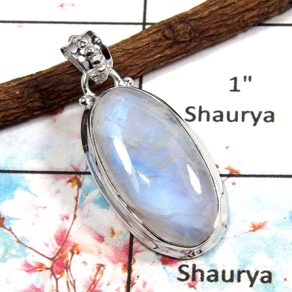 Rainbow Moonstone - O ISP517 - Latest Collection Made In Solid 925 Sterling Silver Plain Setting Pendant