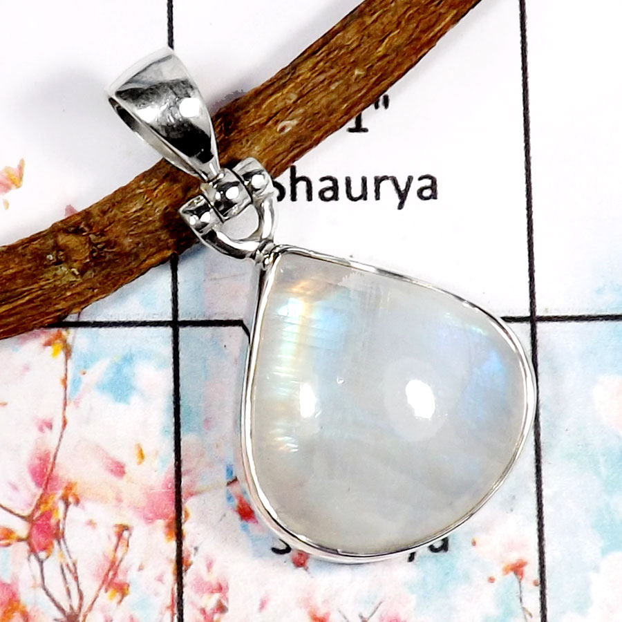 Rainbow Moonstone-G ISP518-Natural Cabochon Gemstone Handmade Plain Silver Pendant 925 Sterling Silver