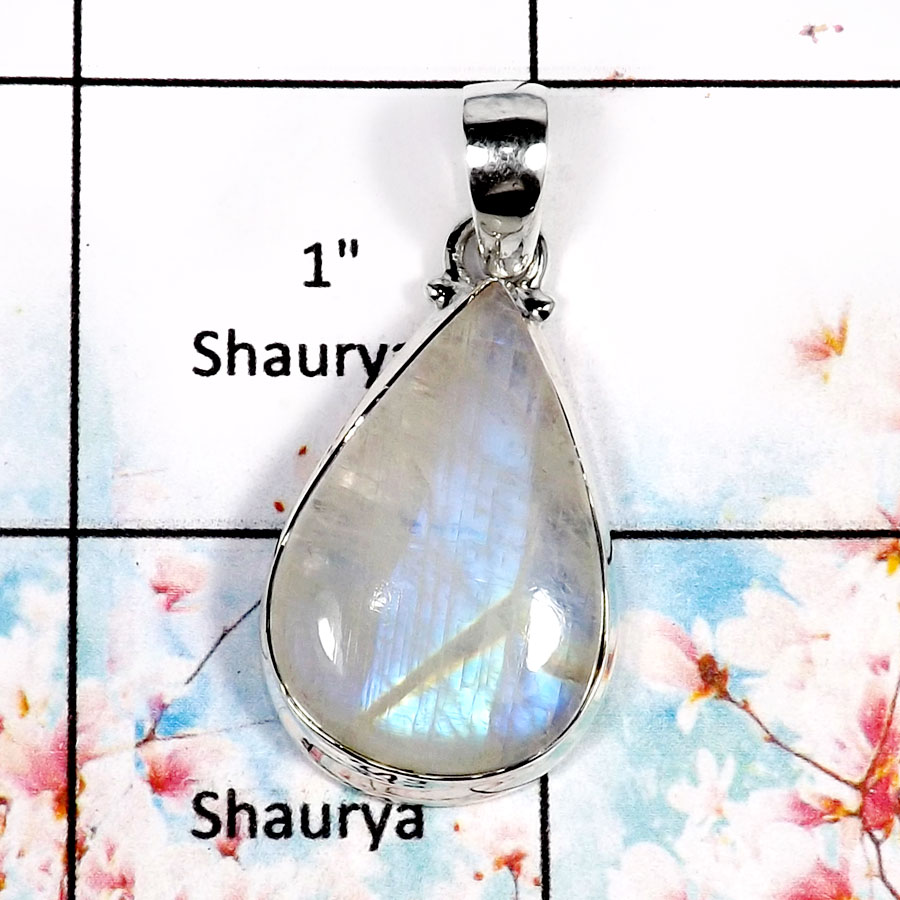 Rainbow Moonstone-H ISP518-Sparkling Rainbow Moonstone Handmade Fashion Pendant 925 Sterling Silver