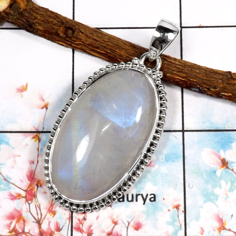 Rainbow Moonstone-L ISP518-Indian Factory Wholesale Plain Setting Pendant 925 Sterling Silver