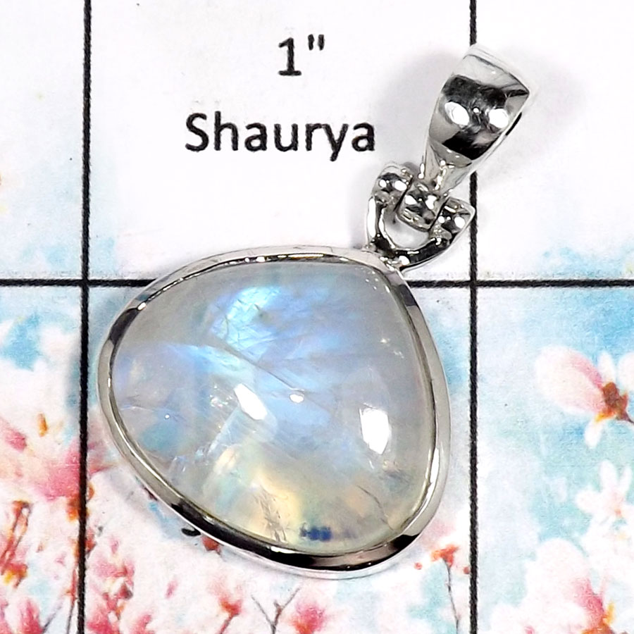 Rainbow Moonstone-M ISP518-Sparkling Rainbow Moonstone Plain Setting Pendant 925 Sterling Silver