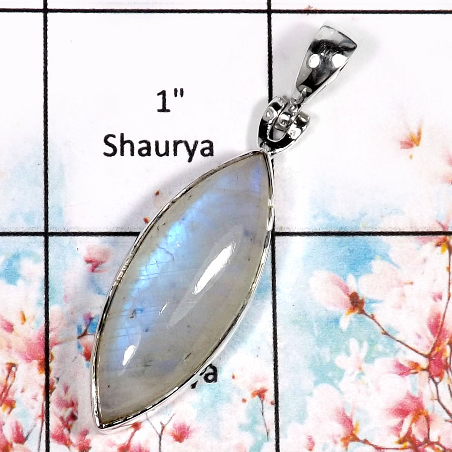 Rainbow Moonstone-N ISP518-Elegant Rainbow Moonstone Handmade Fashion Pendant 925 Sterling Silver