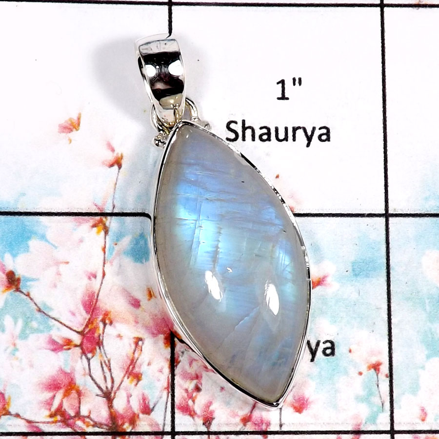 Rainbow Moonstone-S ISP518-Sparkling Cabochon Gemstone Handmade Pendant 925 Sterling Silver