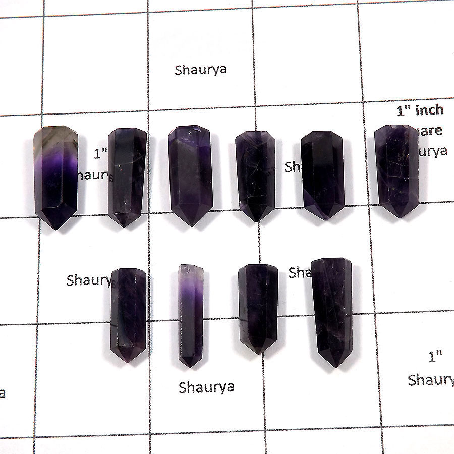 Amethyst - H - MPG999 - 10 Pcs Wholesale Lots Exclusive Natural Purple Amethyst Metaphysical Pointed Gemstone