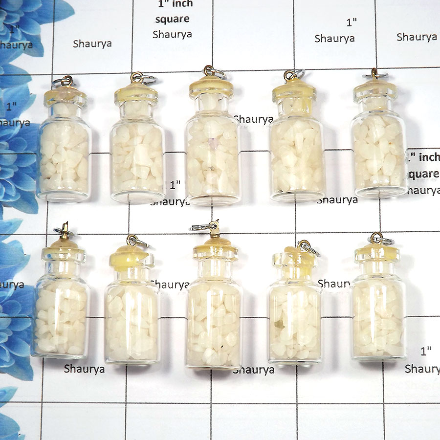 White Agate - A - MTS995 - 10 Pcs Wholesale Lots Natural White Agate Gemstone Chakra Chips Bottles Pendants
