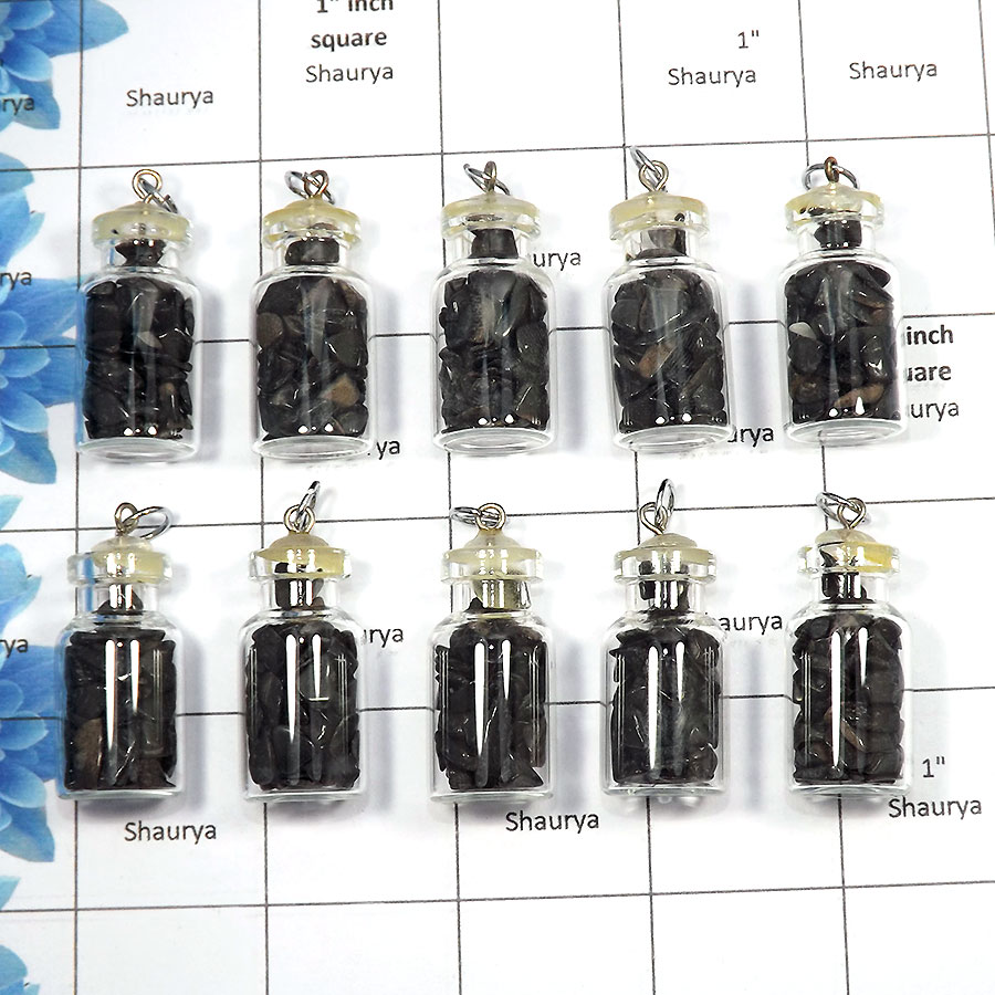 Black Agate - C - MTS995 - 10 Pcs Wholesale Lots Awesome Natural Black Agate Chakra Chips Bottles Metaphysical Pendants