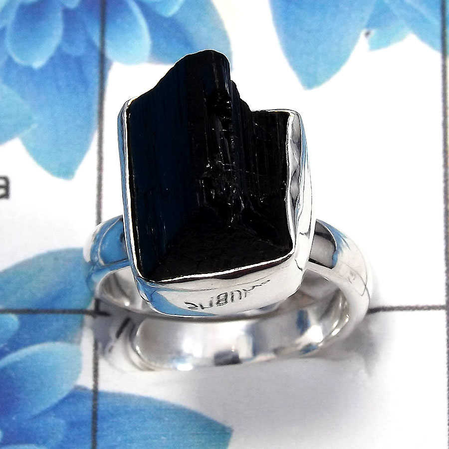 Black Tourmaline Rough A - NDS955 - Natural Black Tourmaline Rough Solid 925 Sterling Silver Adjustable Ring