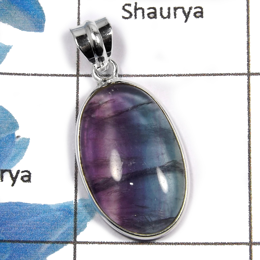 Fluorite Cab K -NSP944 -Fluorite Exclusive Cab  Gemstone Handmade Wholesale Pendant 925 Sterling Silver