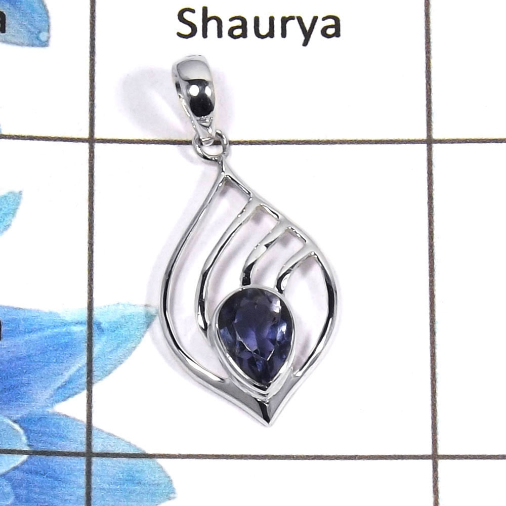 Iolite Cut B - NSP954 - 5x7mm Pear Cut Natural Blue Iolite Gemstone 925 Silver Light Weight Designer Pendant