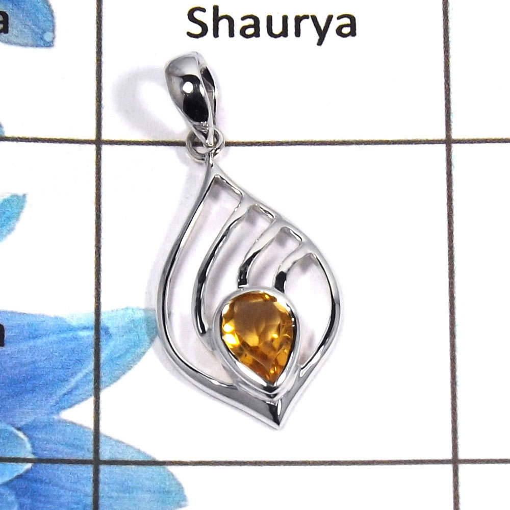 Citrine Cut D - NSP954 - Awesome Natural Citrine Pear Cut Gemstone Solid 925 Sterling Silver Designer Pendant
