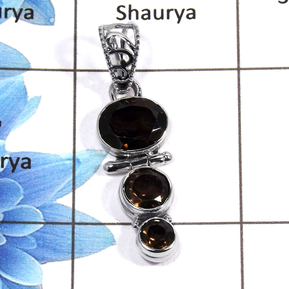 Smokey Cut D - NSP955 - Awesome Natural Brown Smokey Cut Gemstone 925 Sterling Silver Plain Setting Pendant