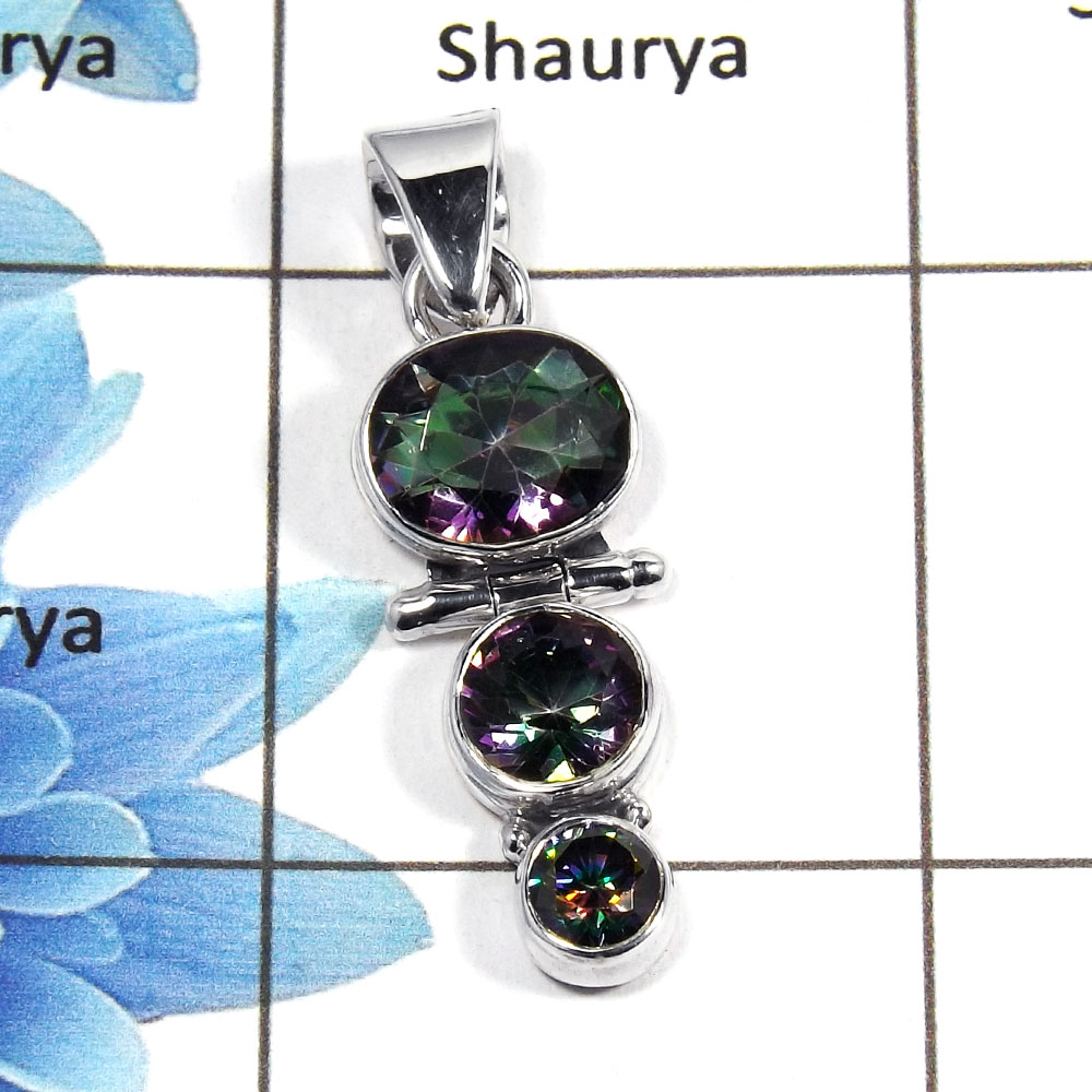 Mystic Cut O - NSP955 - Newly Arrival Natural Mystic Cut Gemstone 925 Sterling Silver Plain Setting Pendant