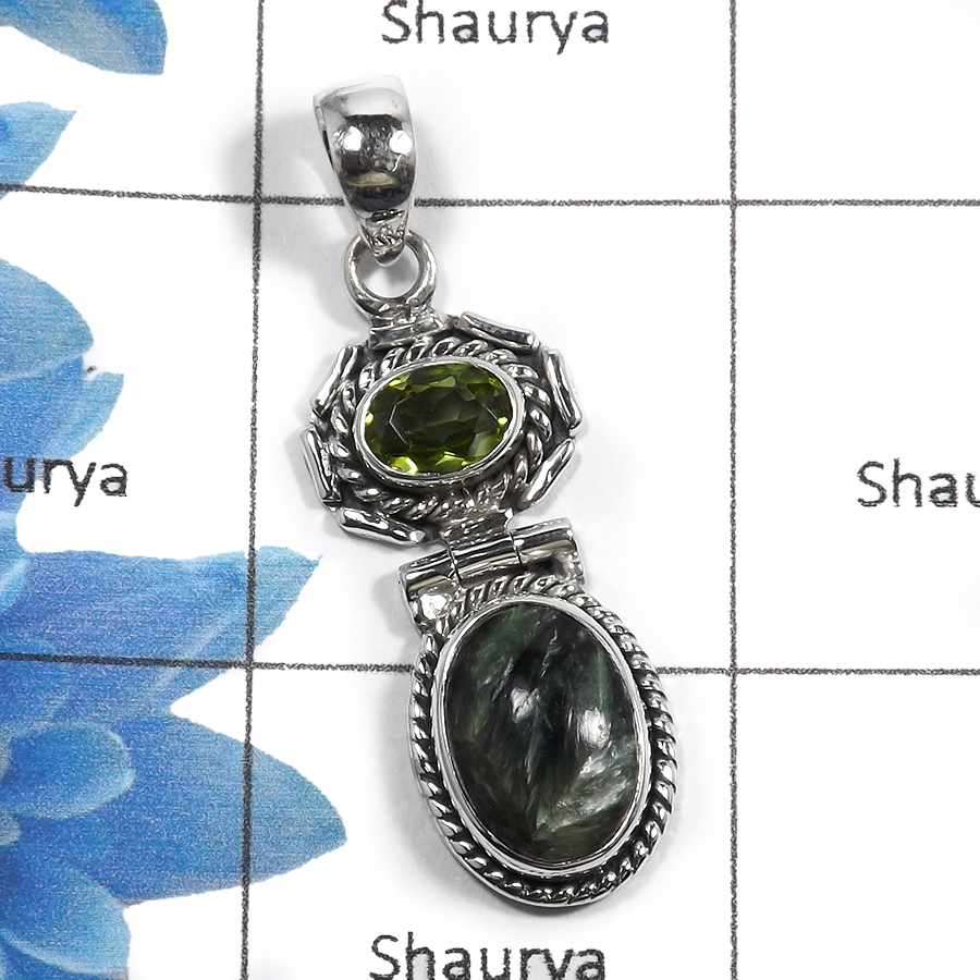 Seraphinite & Peridot A - NSP956 - Indian Beautiful Handmade Designer 925 Sterling Silver Pendent