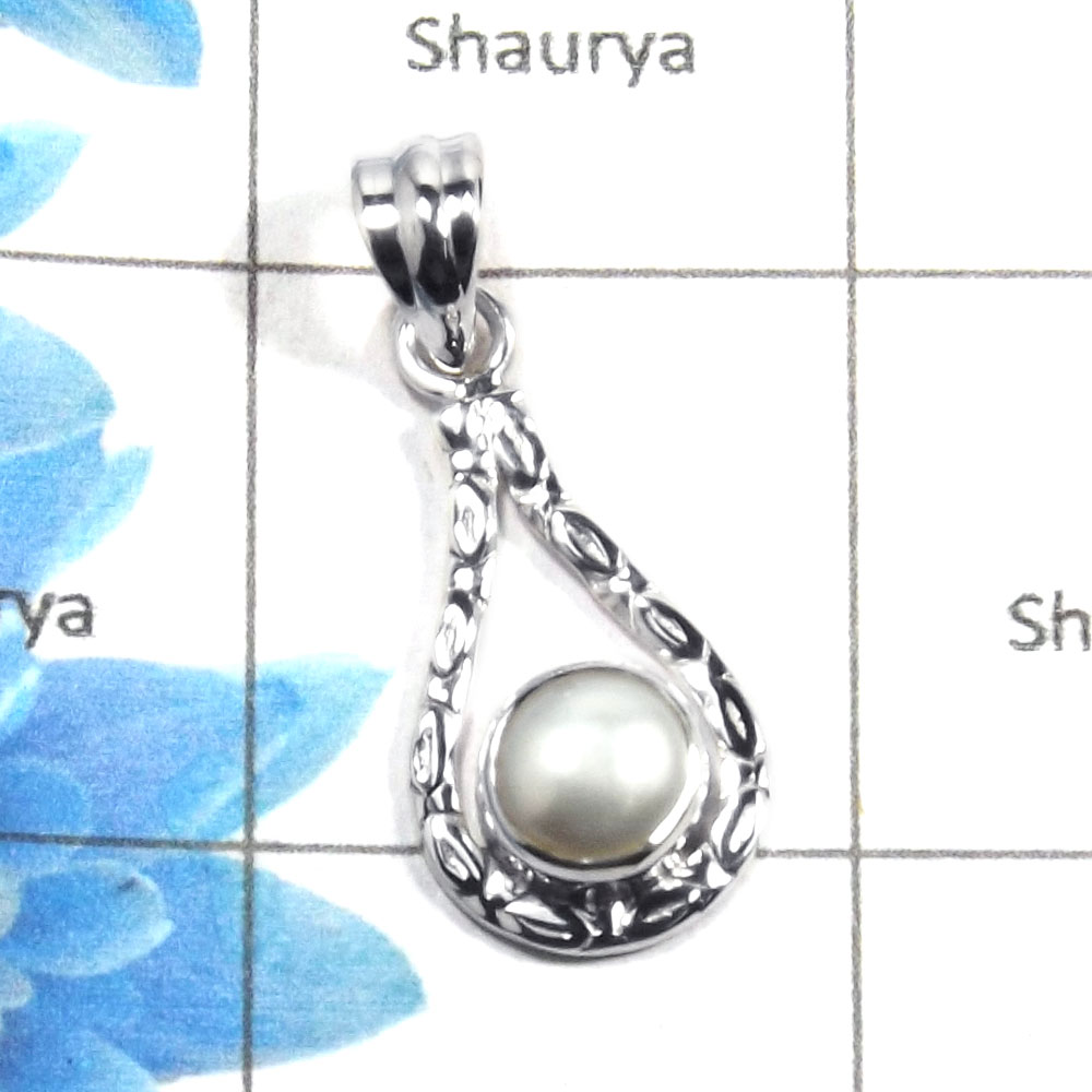 Pearl Cab D - NSP965 - Natural Freshwater Pearl Round Cab Gemstone 925 Sterling Silver Designer Pendant