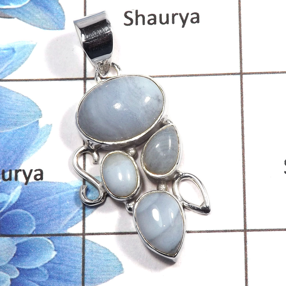 Blue Lace Agate Cab C - NSP983 - Exclusive Natural Blue Lace Agate Gemstone 925 Sterling Silver Designer Pendant