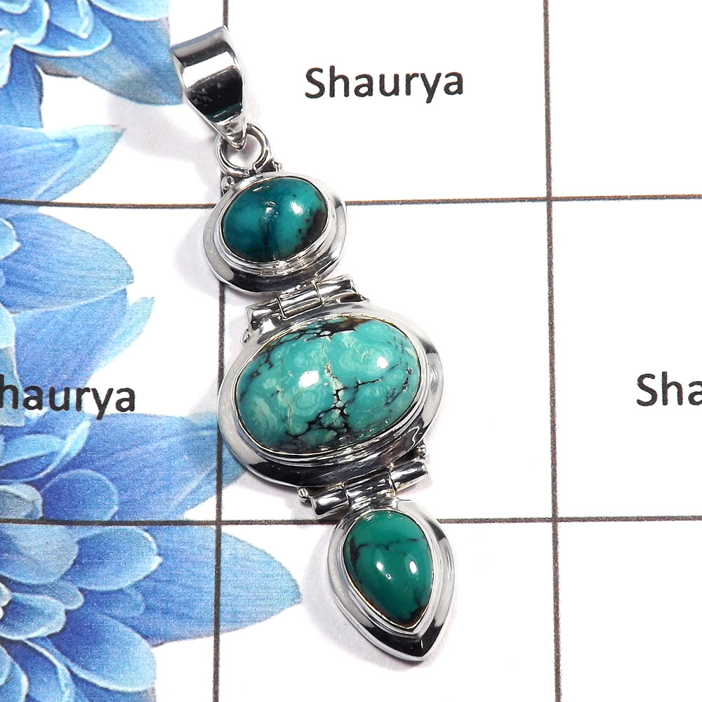 Tibet Turquoise Cab D - NSP984 - Awesome Natural Tibet Turquoise Gemstone 925 Sterling Silver Plain Setting Pendant