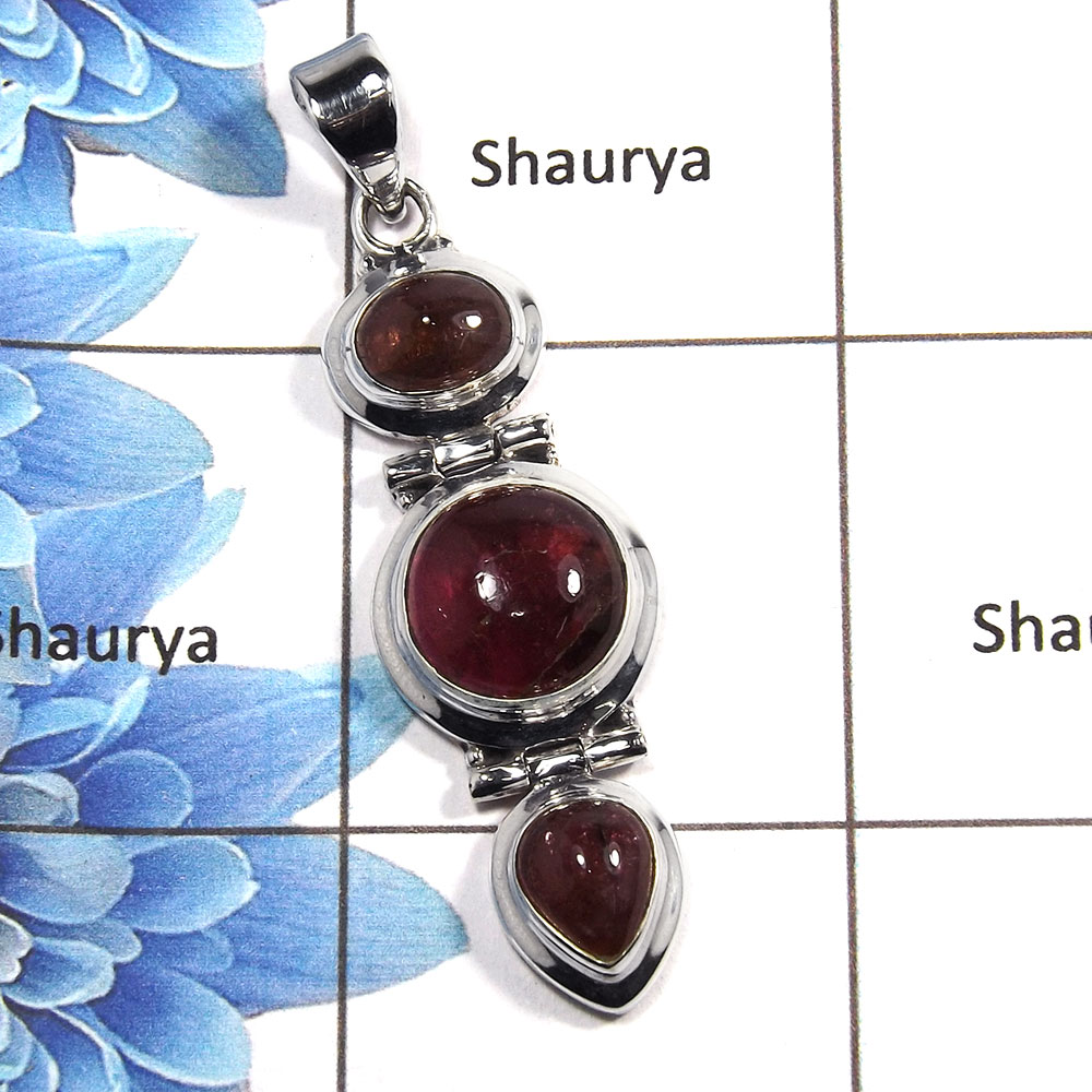 Tourmaline Cab G - NSP984 - 925 Sterling Silver Natural Red Tourmaline Cab Gemstone Plain Setting Pendant