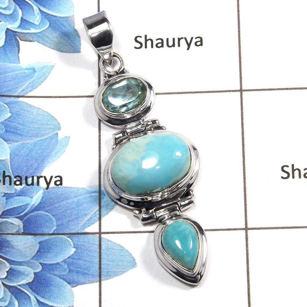 Larimar Cab & Blue Topaz Cut L - NSP984 - 925 Sterling Silver Natural Larimar & Blue Topaz Gemstone Plain Setting Pendant