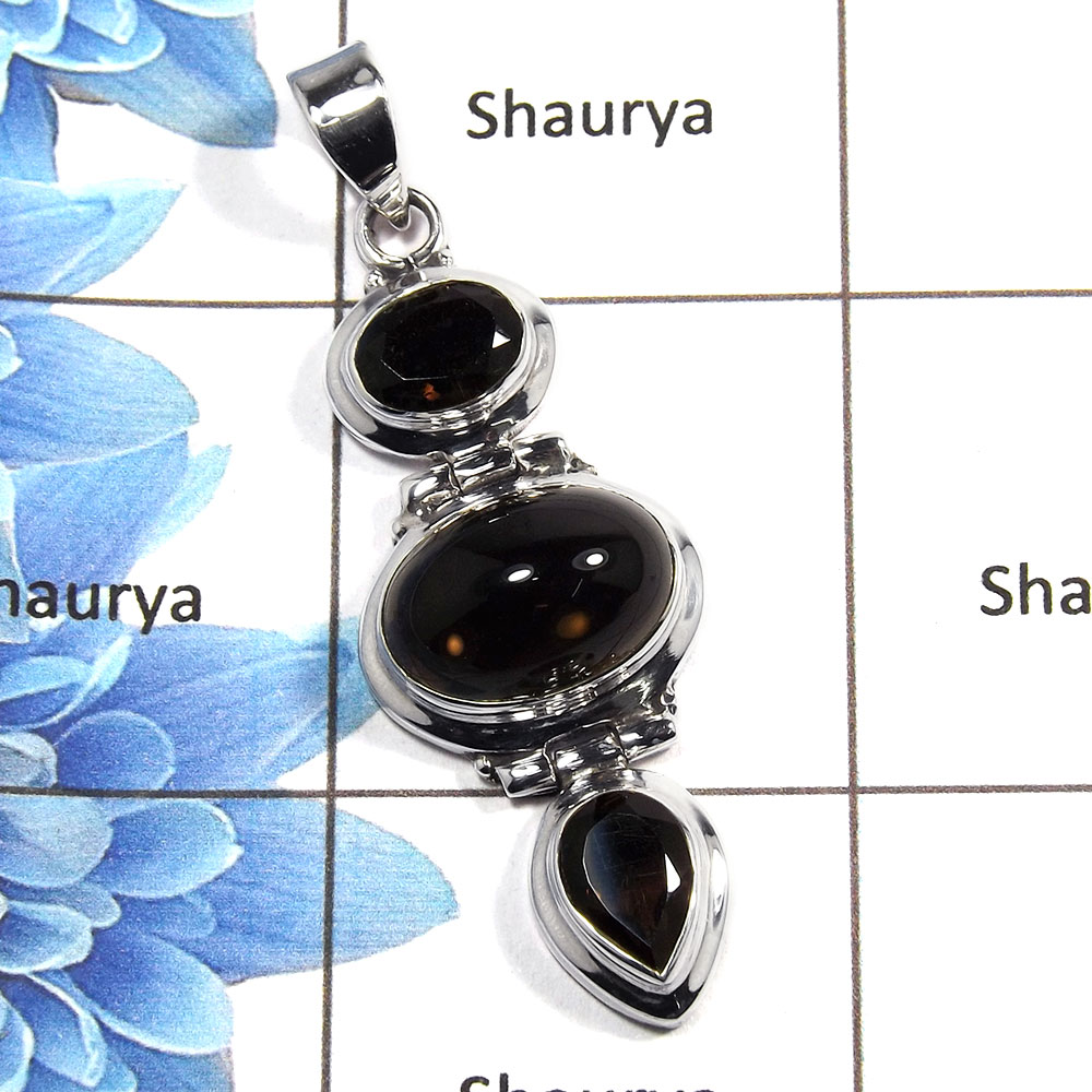 Smokey Cab & Cut M - NSP984 - Newly Arrival Natural Brown Smokey Gemstone 925 Silver Plain Setting Pendant